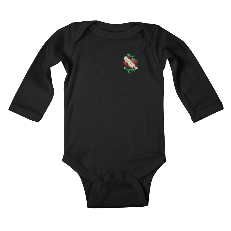 Don't Point Fingers!!! in blue pocket version Kids Baby Longsleeve Bodysuit by Calahorra Artist Shop