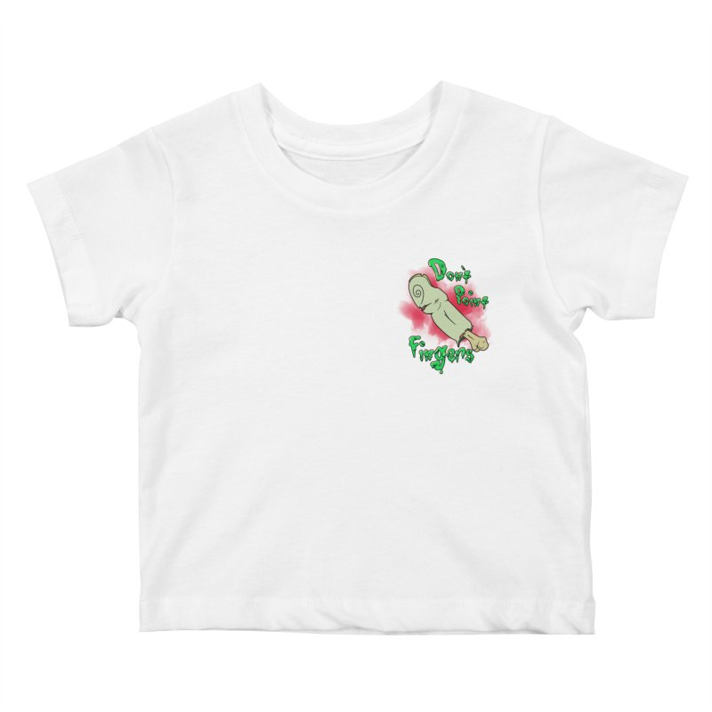 Don't Point Fingers!!! in blue pocket version Kids Baby T-Shirt by Calahorra Artist Shop