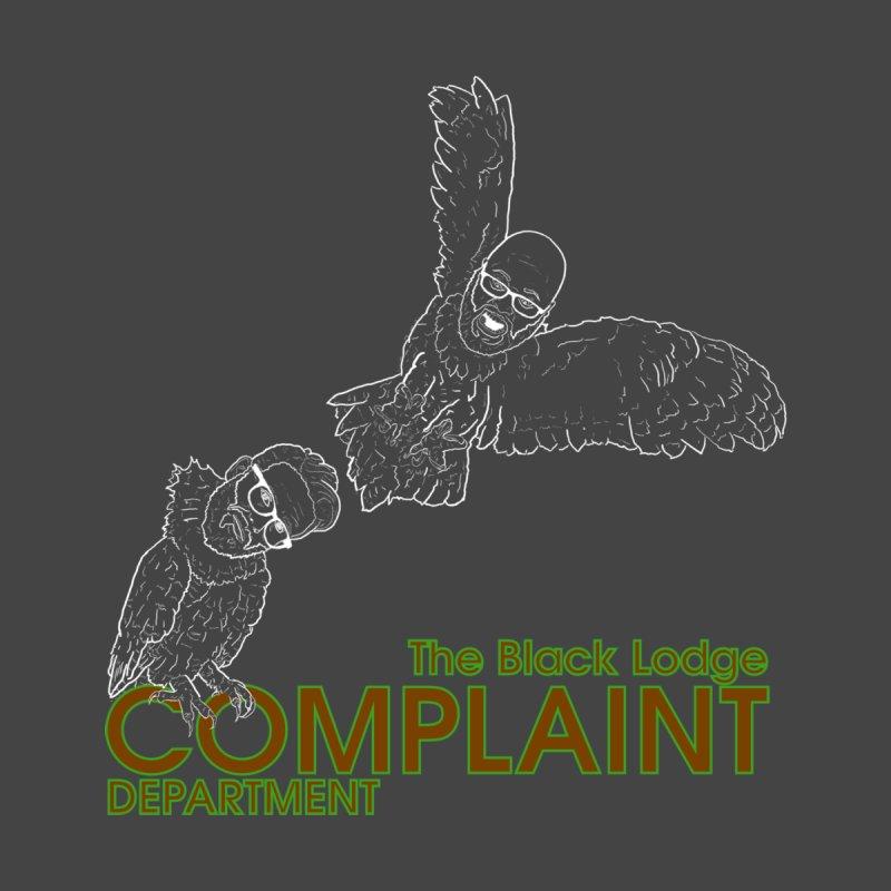 Black Lodge Complaint Department (white logo) Men's T-Shirt by Calamitycast's Artist Shop
