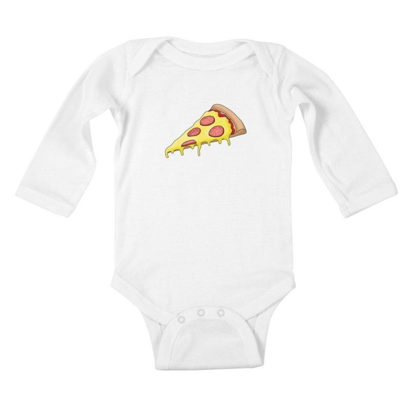 Pizza Kids Baby Longsleeve Bodysuit by Camilla Barnard's Artist Shop