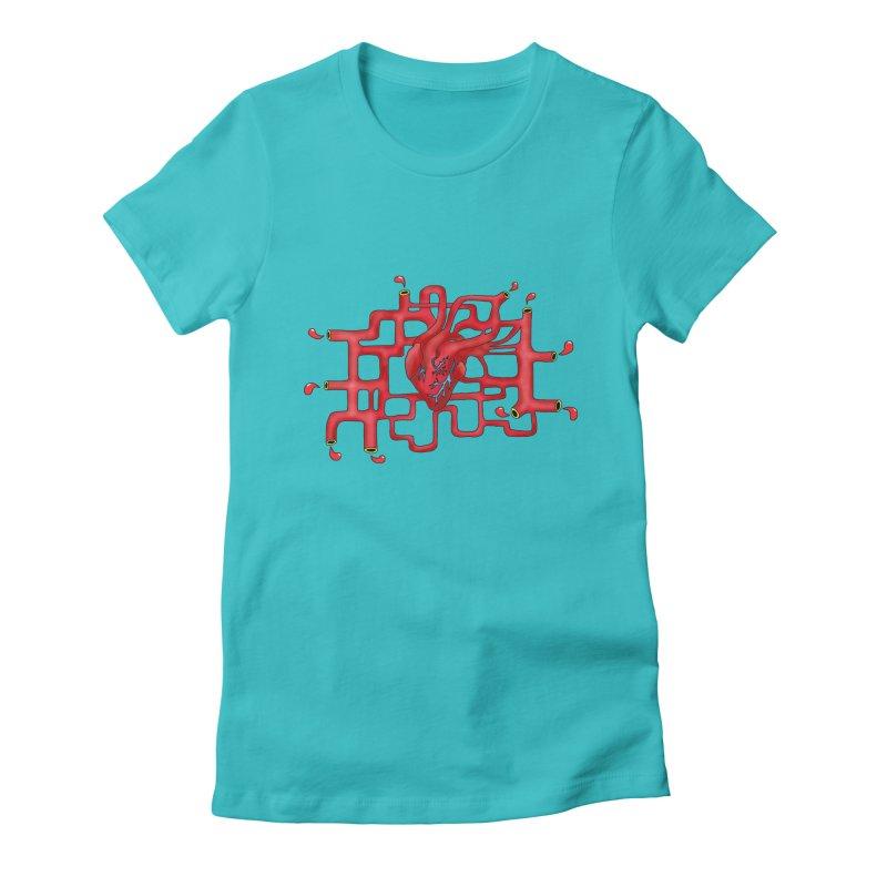 Get your heart pumpin' Women's Fitted T-Shirt by Camilla Barnard's Artist Shop