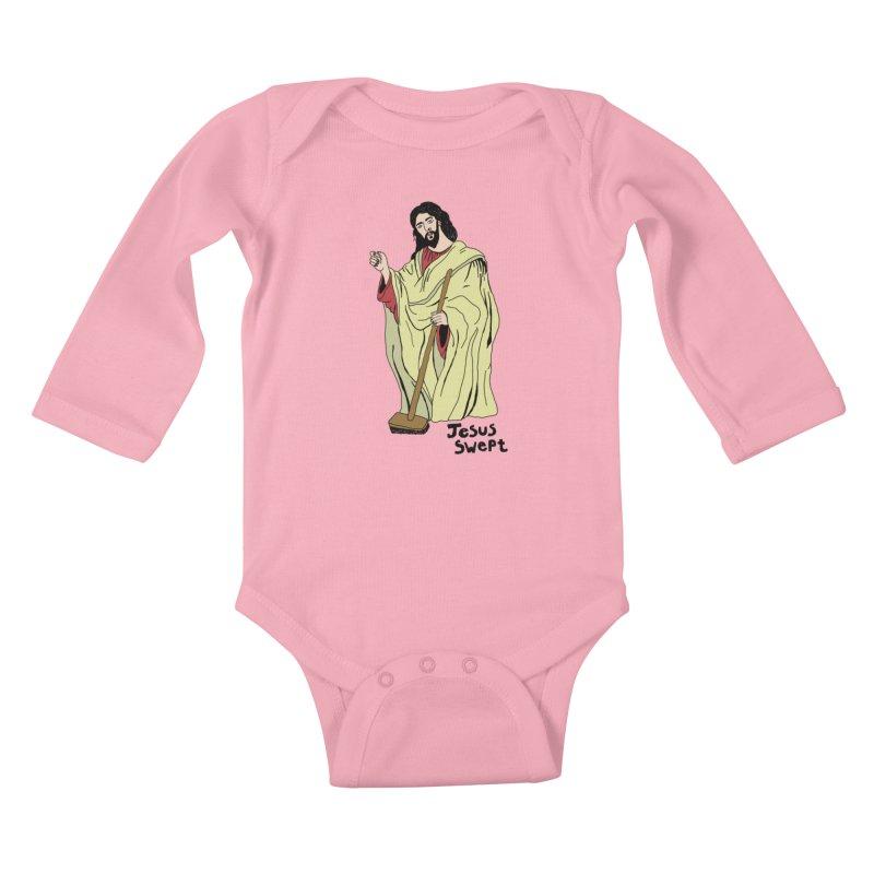 Jesus Swept Kids Baby Longsleeve Bodysuit by Camilla Barnard's Artist Shop