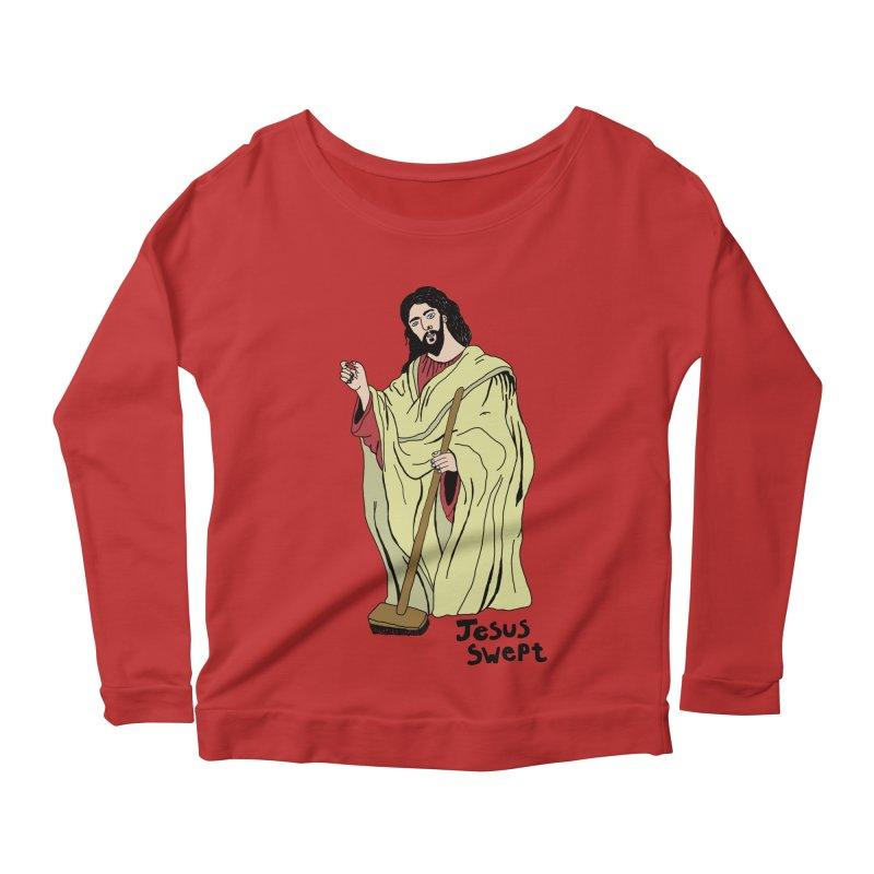 Jesus Swept Women's Longsleeve Scoopneck  by Camilla Barnard's Artist Shop