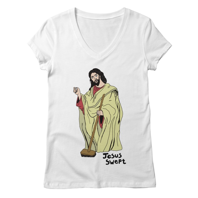 Jesus Swept Women's V-Neck by Camilla Barnard's Artist Shop