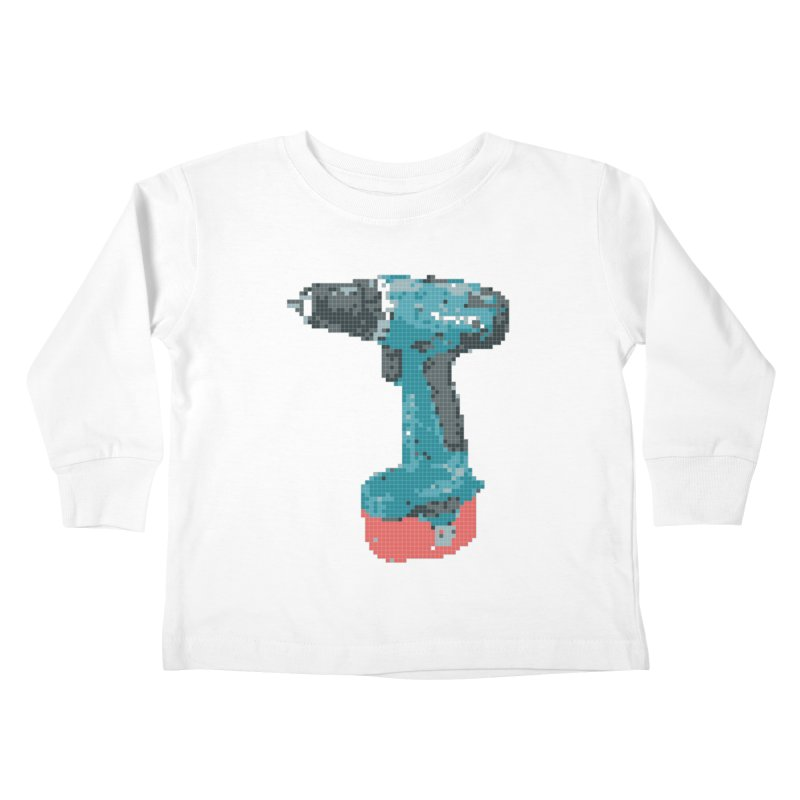 Pixel Drill  Kids Toddler Longsleeve T-Shirt by Camilla Barnard's Artist Shop