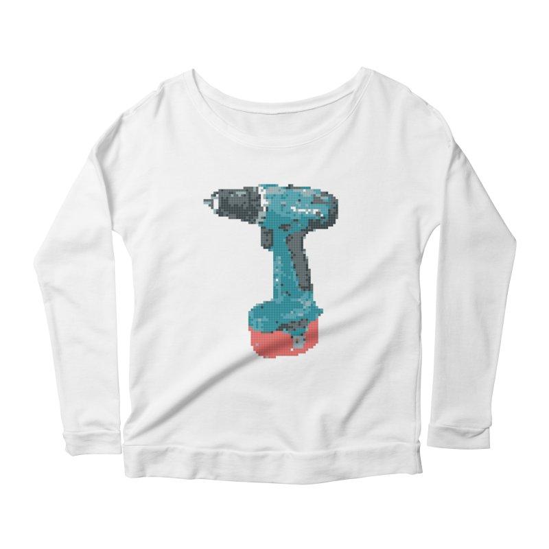 Pixel Drill  Women's Longsleeve Scoopneck  by Camilla Barnard's Artist Shop