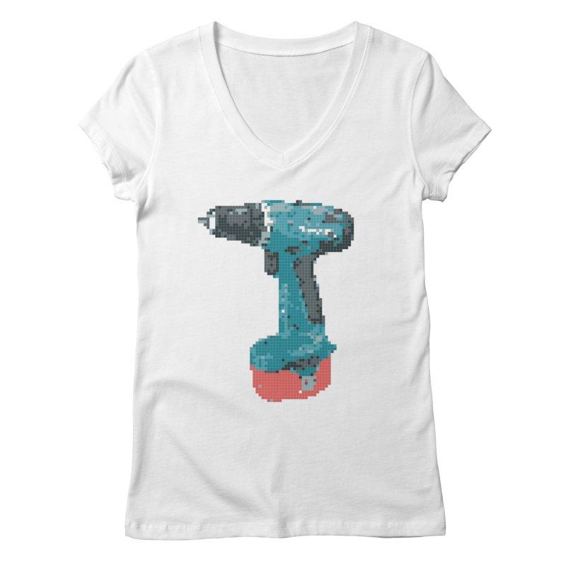 Pixel Drill  Women's V-Neck by Camilla Barnard's Artist Shop