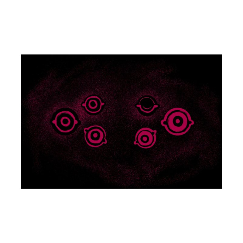 Watchful Eyes Mask - Magenta on Black Accessories Face Mask by Cannery Rat Collective