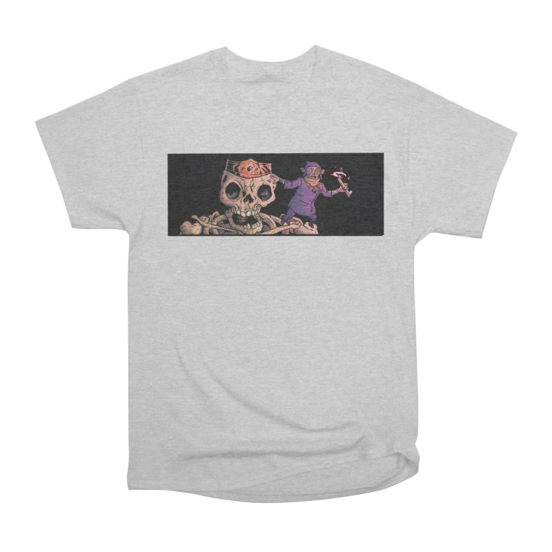 Necromancer and Giant Skeleton King Apparel T-Shirt by Cannery Rat Collective
