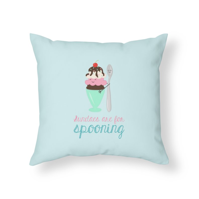 Sundaes are for Spooning Home Throw Pillow by CardyHarHar's Artist Shop