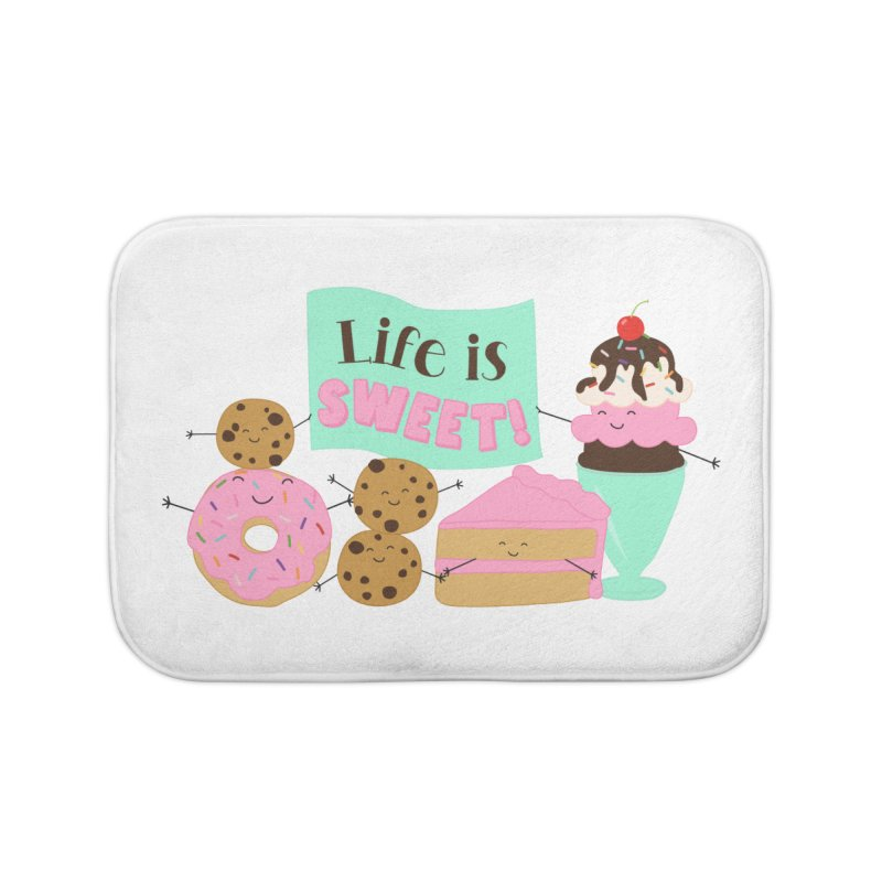 Life is Sweet Home Bath Mat by CardyHarHar's Artist Shop