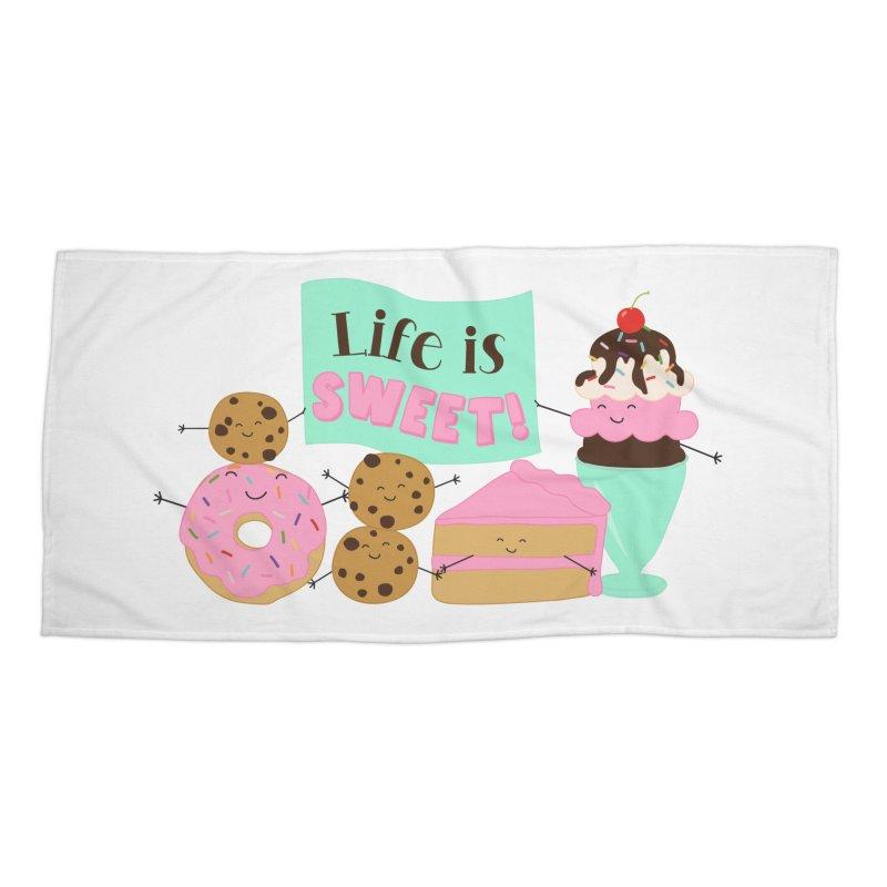 Life is Sweet Accessories Beach Towel by CardyHarHar's Artist Shop
