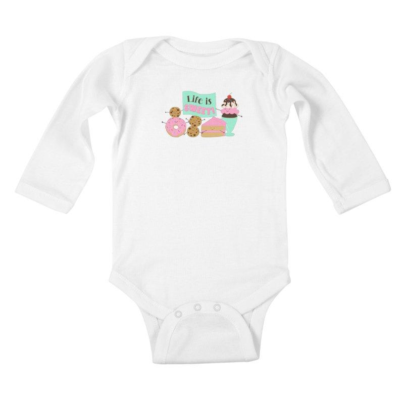 Life is Sweet Kids Baby Longsleeve Bodysuit by CardyHarHar's Artist Shop