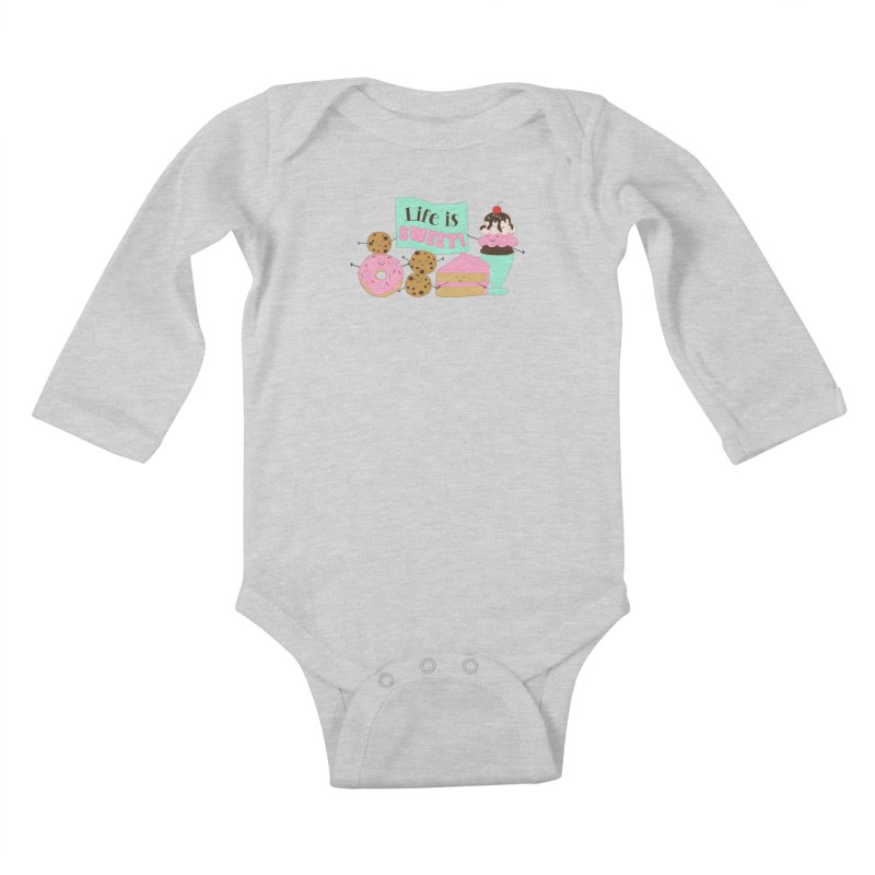 Life is Sweet Kids Baby Longsleeve Bodysuit by CardyHarHar's Artist Shop