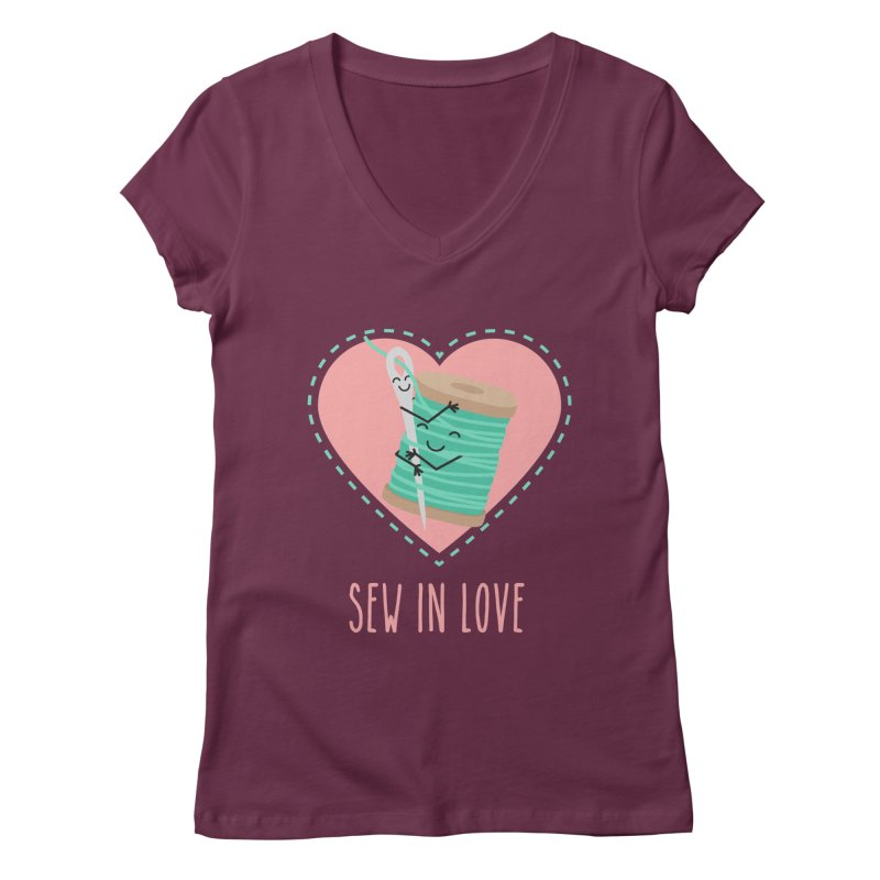 Sew In Love Women's V-Neck by CardyHarHar's Artist Shop