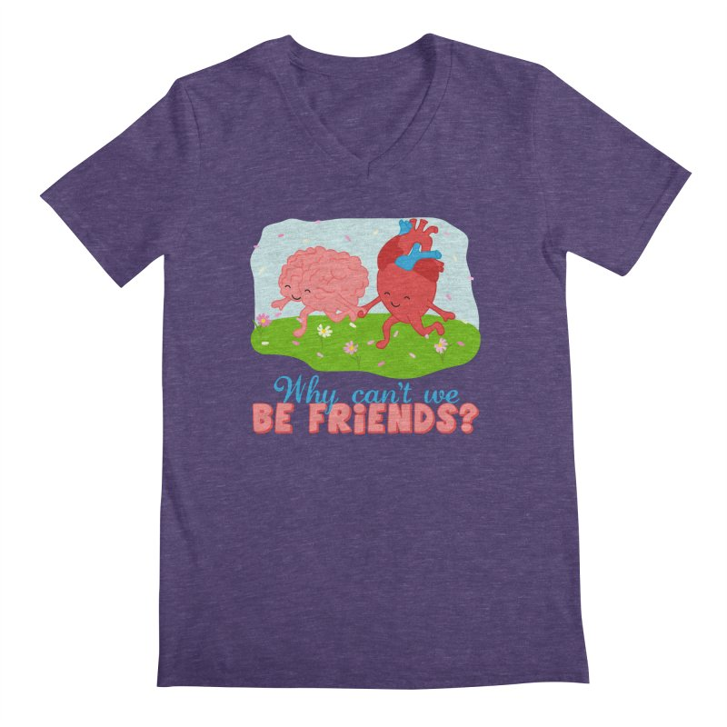 Why Can't We Be Friends Men's V-Neck by CardyHarHar's Artist Shop