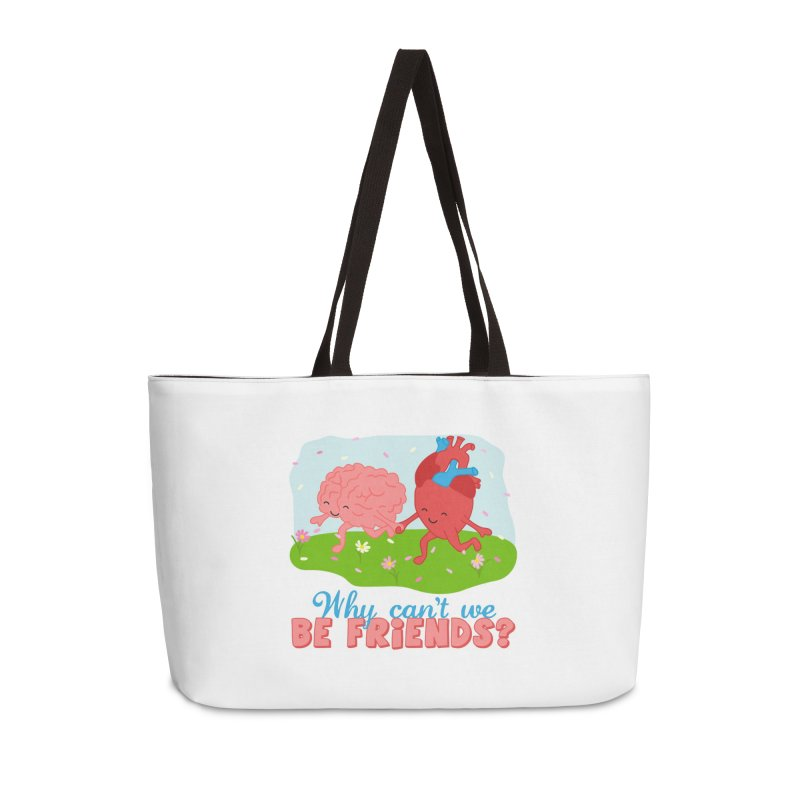 Why Can't We Be Friends Accessories Weekender Bag Bag by CardyHarHar's Artist Shop