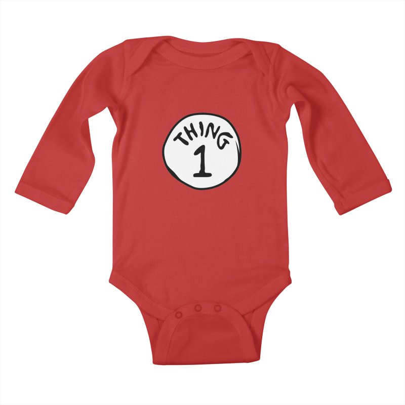 Thing 1 Kids Baby Longsleeve Bodysuit by CardyHarHar's Artist Shop