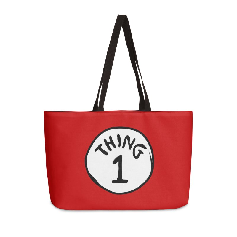 Thing 1 Accessories Weekender Bag Bag by CardyHarHar's Artist Shop