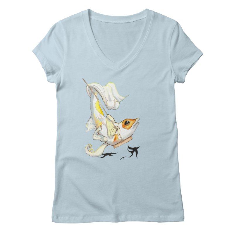 Fly High Butterfly Koi Shirt Women's Regular V-Neck by CareyTale's