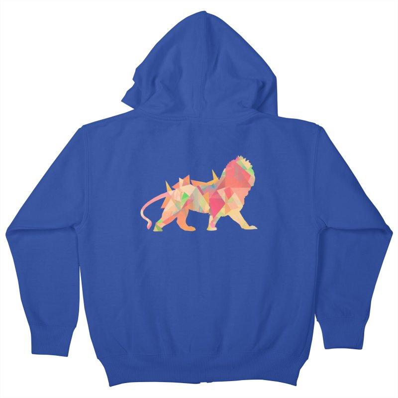 Poly Lion Kids Zip-Up Hoody by Carli's Artist Shop