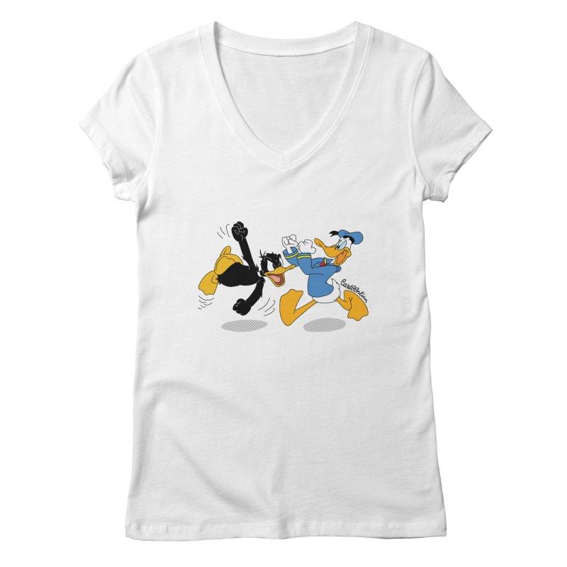 Mr. D. Duck Women's V-Neck by Cart00nlion's Artist Shop