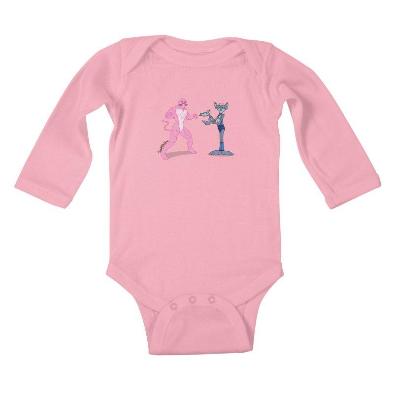 Pink Panthro Kids Baby Longsleeve Bodysuit by Cart00nlion's Artist Shop
