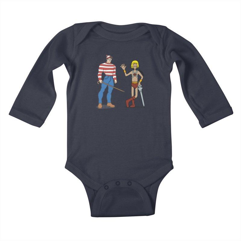 Where's Wal-Man? Kids Baby Longsleeve Bodysuit by Cart00nlion's Artist Shop