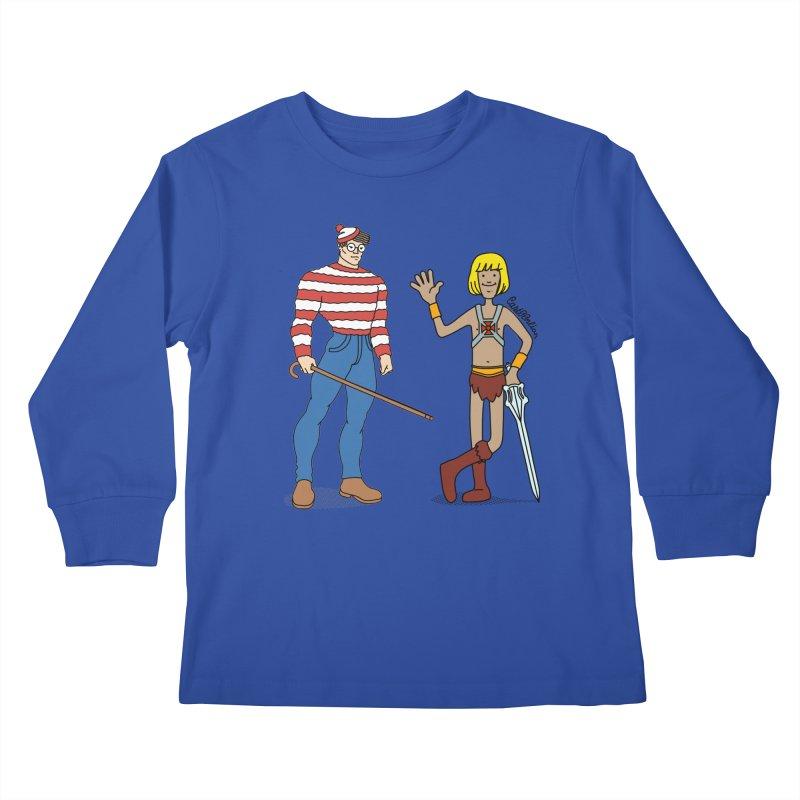 Where's Wal-Man? Kids Longsleeve T-Shirt by Cart00nlion's Artist Shop