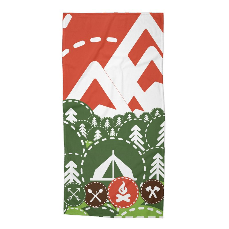 Camping Maniacs - Camp Accessories Beach Towel by Casa Norte's Artist Shop