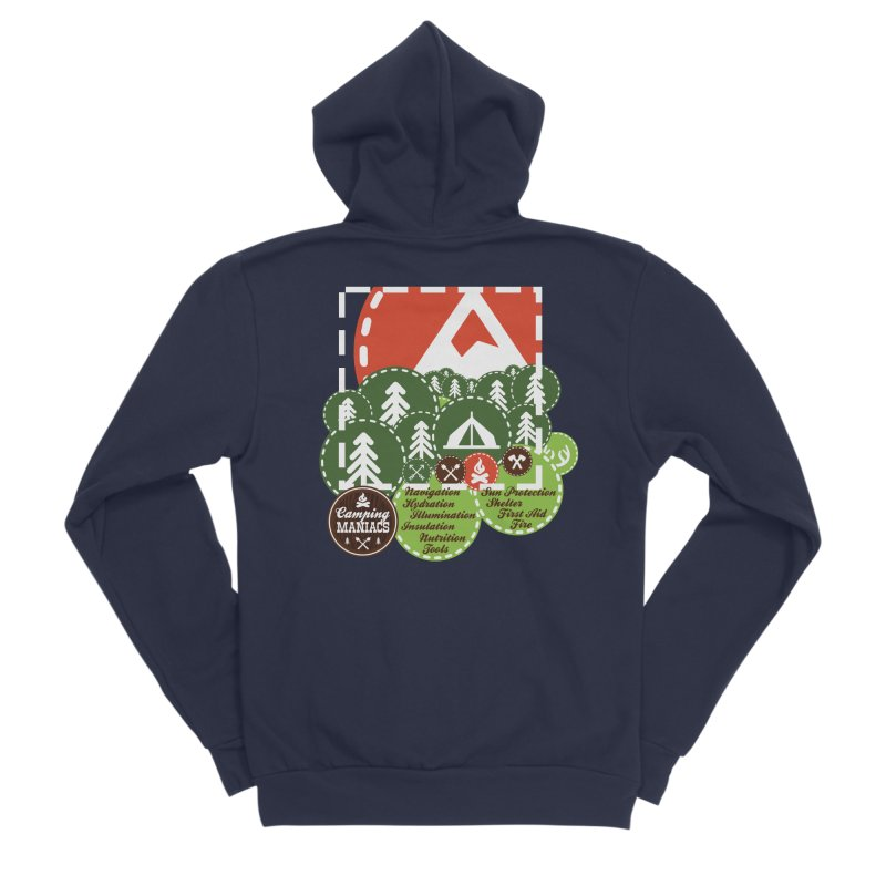 Camping Maniacs - Camp Men's Sponge Fleece Zip-Up Hoody by Casa Norte's Artist Shop