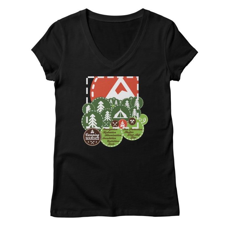 Camping Maniacs - Camp Women's V-Neck by Casa Norte's Artist Shop