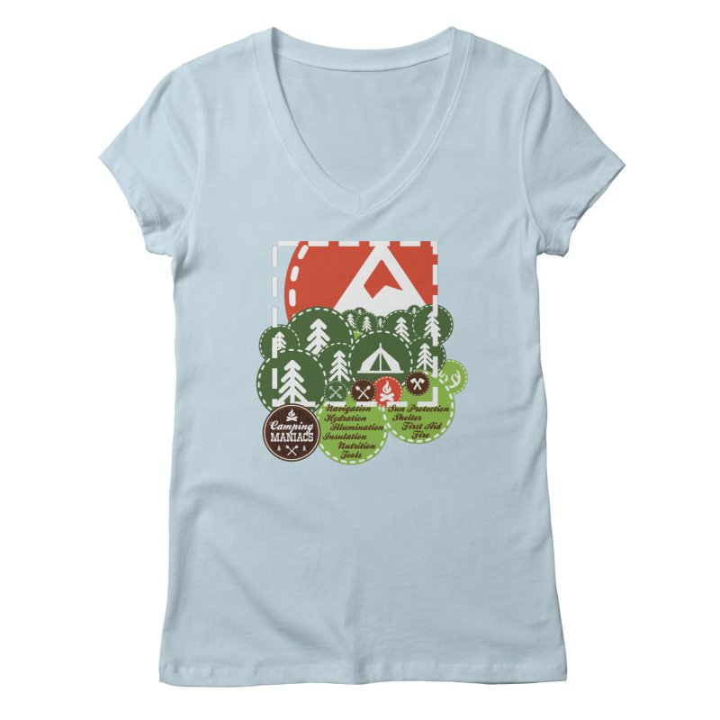 Camping Maniacs - Camp Women's Regular V-Neck by Casa Norte's Artist Shop