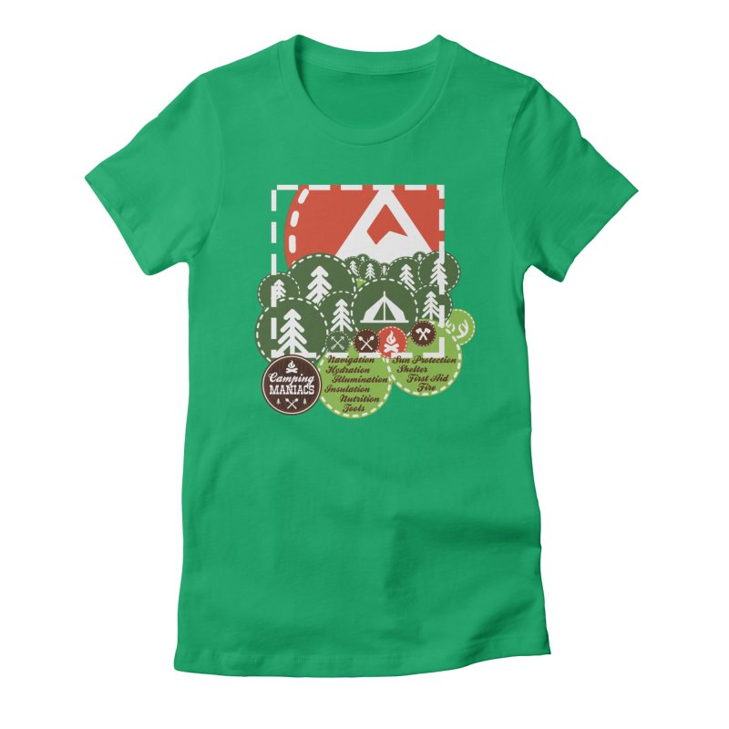Camping Maniacs - Camp Women's Fitted T-Shirt by Casa Norte's Artist Shop