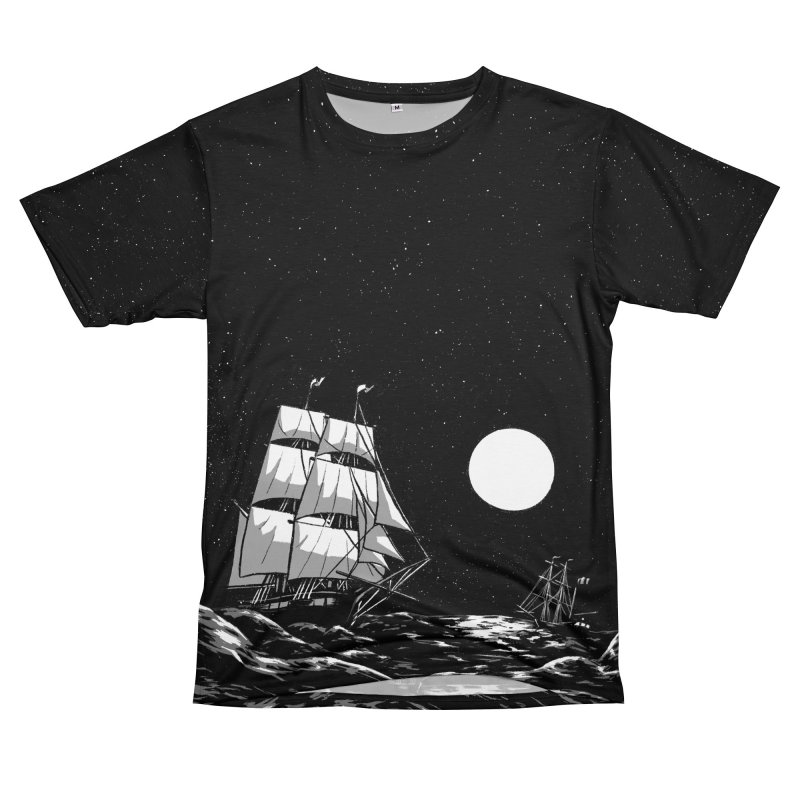 Ship at Sea- Black and White Men's Cut & Sew by Catparrts' Shop