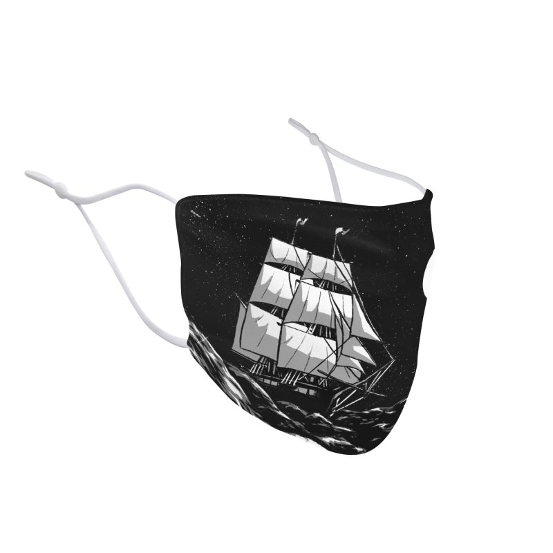 Ship at Sea- Black and White Accessories Face Mask by Catparrts' Shop
