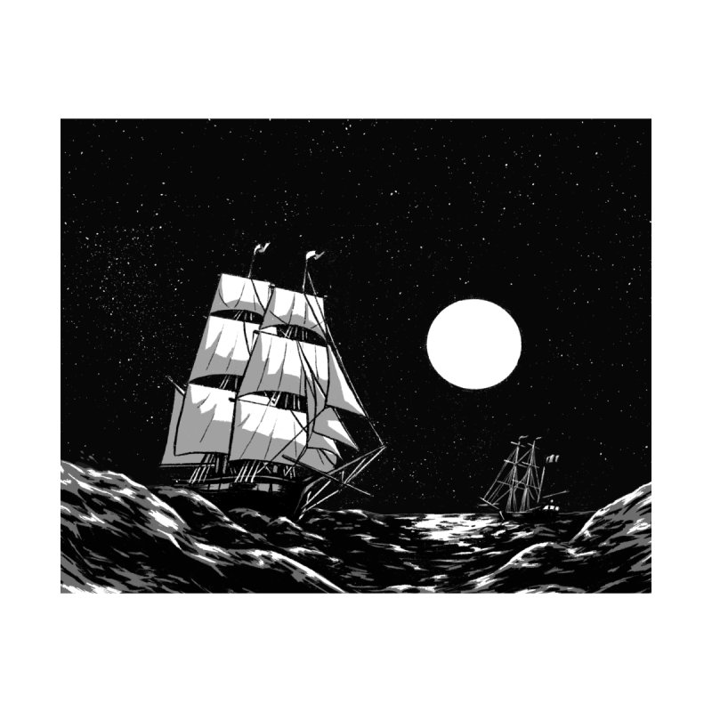 Ship at Sea- Black and White Accessories Sticker by Catparrts' Shop