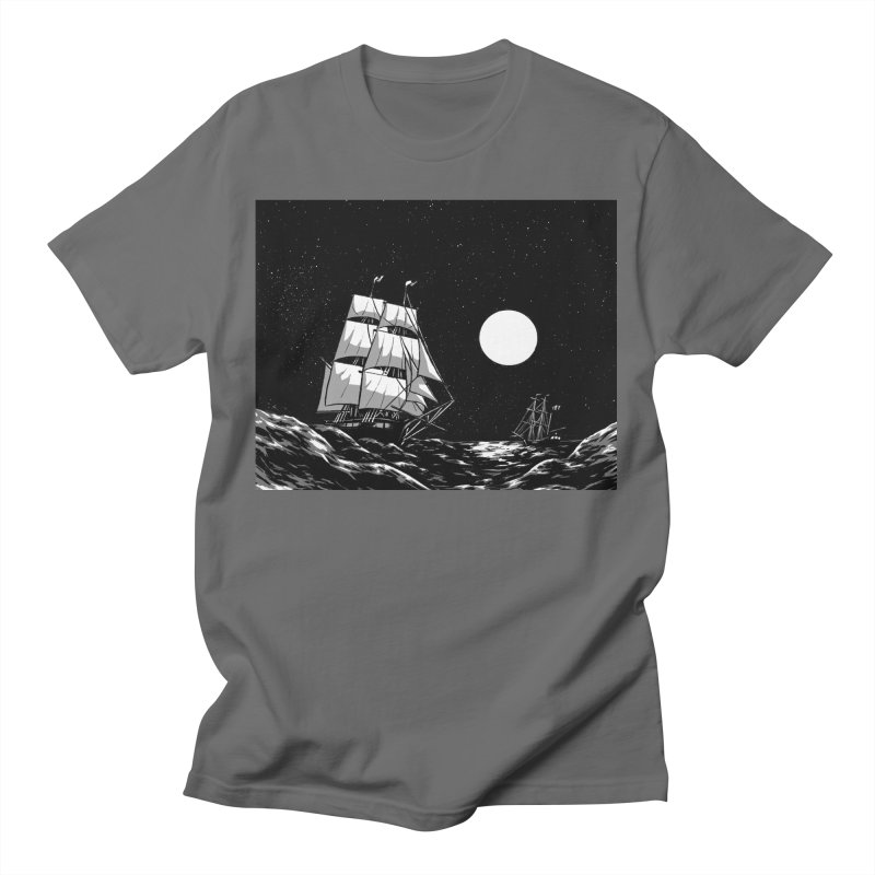 Ship at Sea- Black and White Men's T-Shirt by Catparrts' Shop
