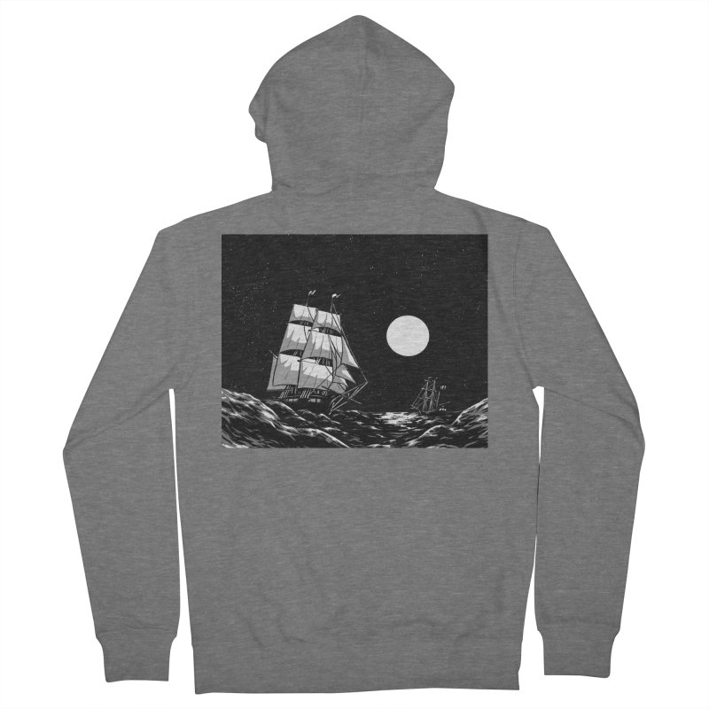 Ship at Sea- Black and White Men's Zip-Up Hoody by Catparrts' Shop