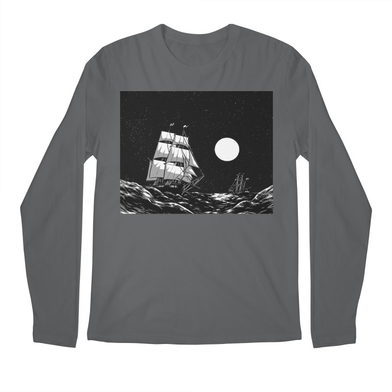 Ship at Sea- Black and White Men's Longsleeve T-Shirt by Catparrts' Shop