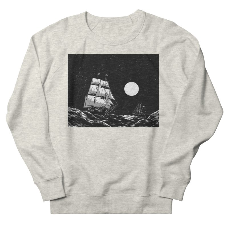 Ship at Sea- Black and White Men's Sweatshirt by Catparrts' Shop