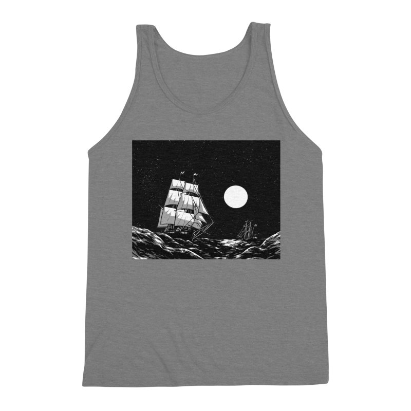 Ship at Sea- Black and White Men's Tank by Catparrts' Shop