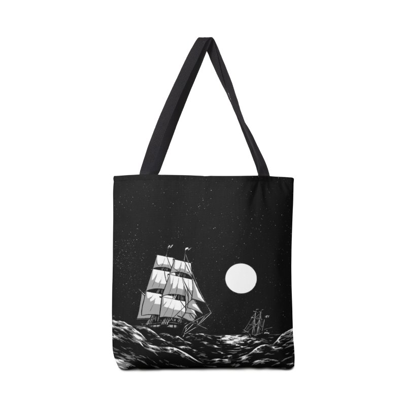 Ship at Sea- Black and White Accessories Bag by Catparrts' Shop