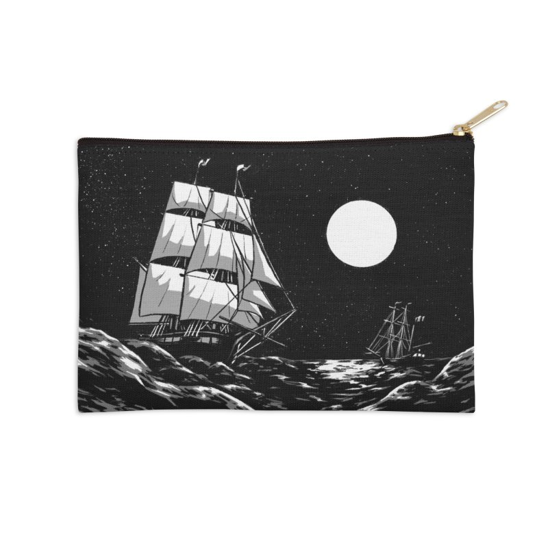 Ship at Sea- Black and White Accessories Zip Pouch by Catparrts' Shop