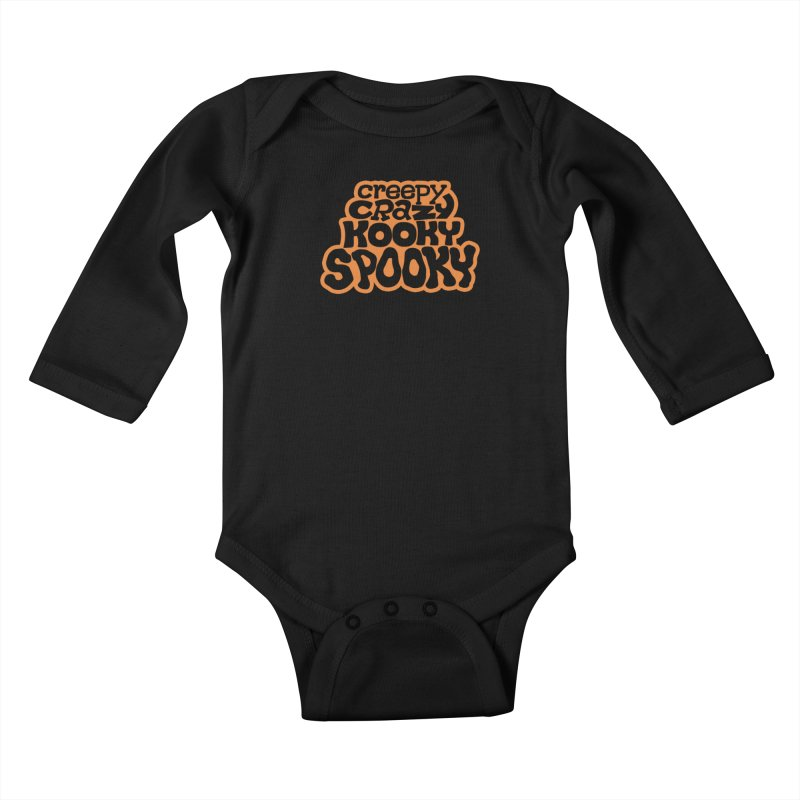 Creepy Crazy Kooky Spooky Kids Baby Longsleeve Bodysuit by Cattype's Artist Shop