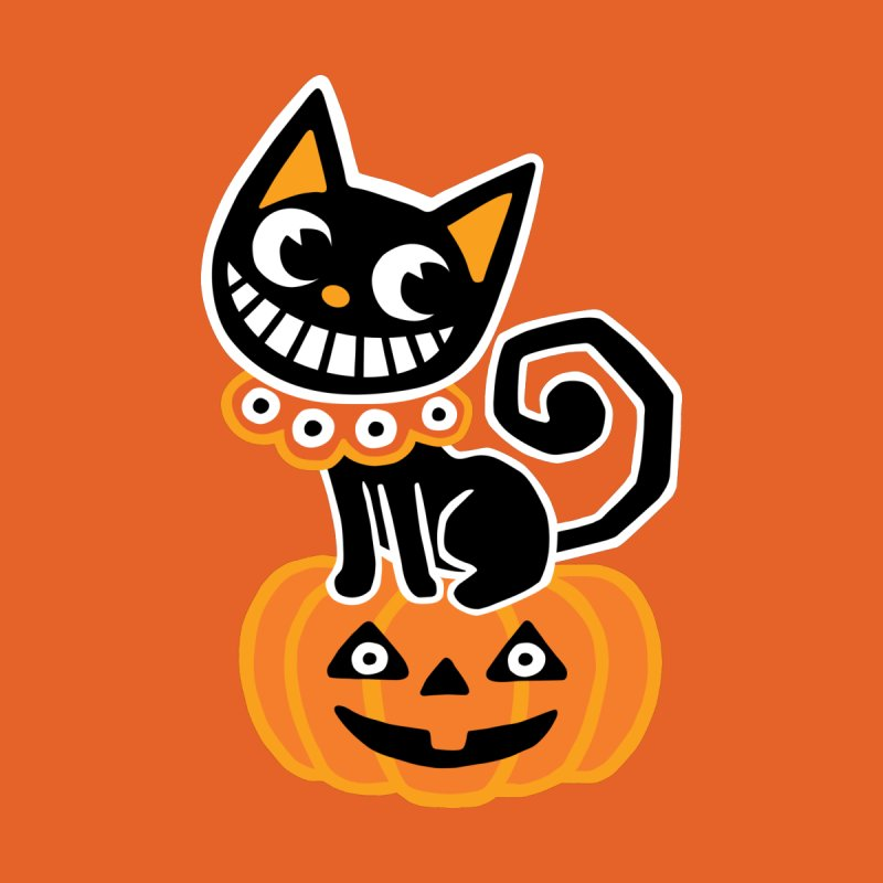 Spooky Pumpkin Black Cat Kids T-Shirt by Cattype's Artist Shop