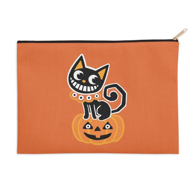 Spooky Pumpkin Black Cat Accessories Zip Pouch by Cattype's Artist Shop