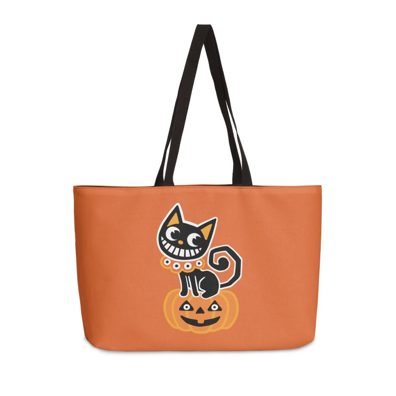 Spooky Pumpkin Black Cat Accessories Bag by Cattype's Artist Shop