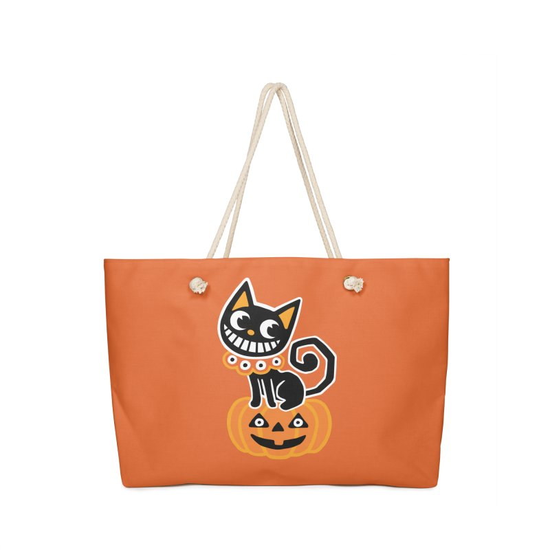 Spooky Pumpkin Black Cat Accessories Bag by Cattype's Artist Shop