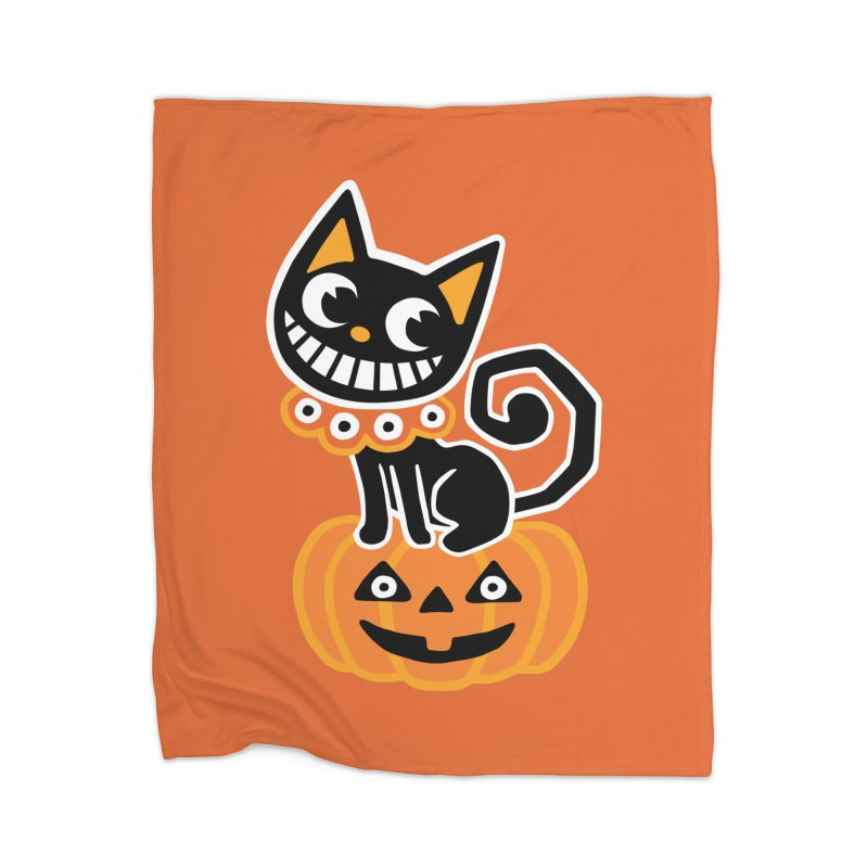 Spooky Pumpkin Black Cat Home Blanket by Cattype's Artist Shop